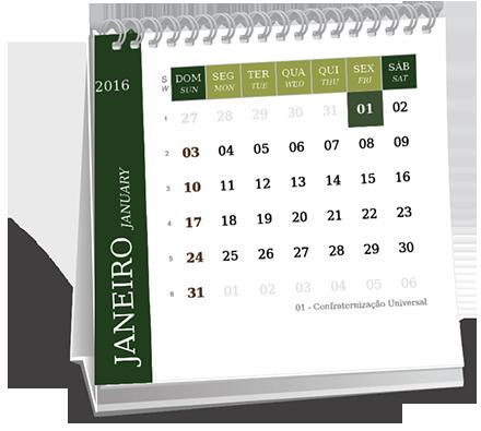 Calendario de Mesa 14-5x14-5 Dados Variáveis Vila Aparecida