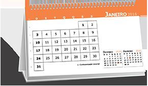 Calendário de Mesa Base Personalizada Mercado