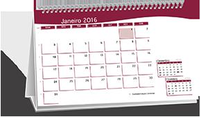 Calendário de Mesa Base Personalizada