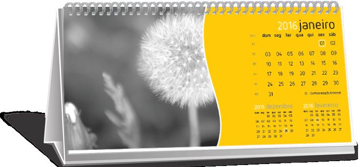 Calendário de Mesa Com Dados Variáveis Limão