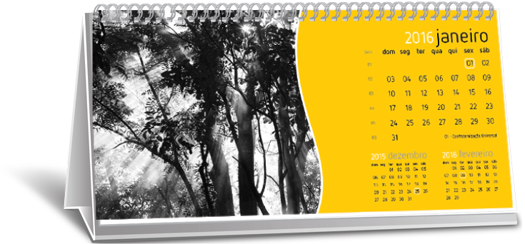 Calendário de Mesa Com Imagem Jardim Odete