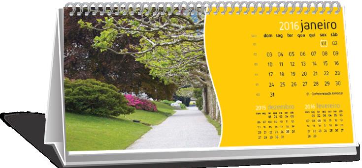 Calendário de Mesa Com Imagem Jardim Scaff
